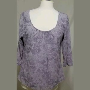 J Jill Womens Shirt Purple Floral Size L